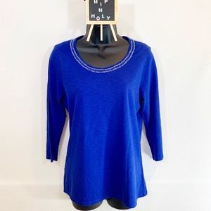 COLDWATER CREEK BEADED SCOOP NECK TOP BLUE SMALL
